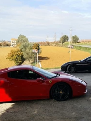 Ferrari in Tuscan countryside