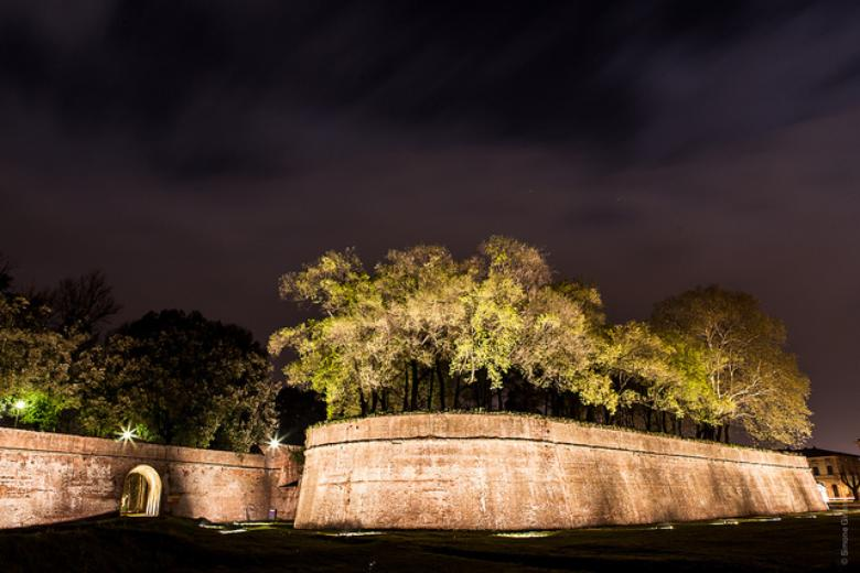 Lucca walls by night