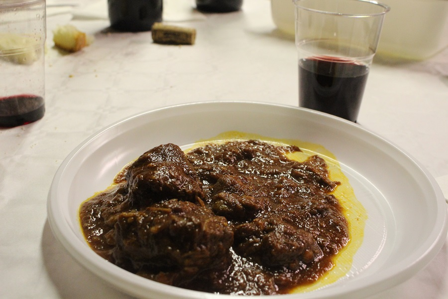 Dinner is ready! Peposo beef stew and Chianti Classico wine