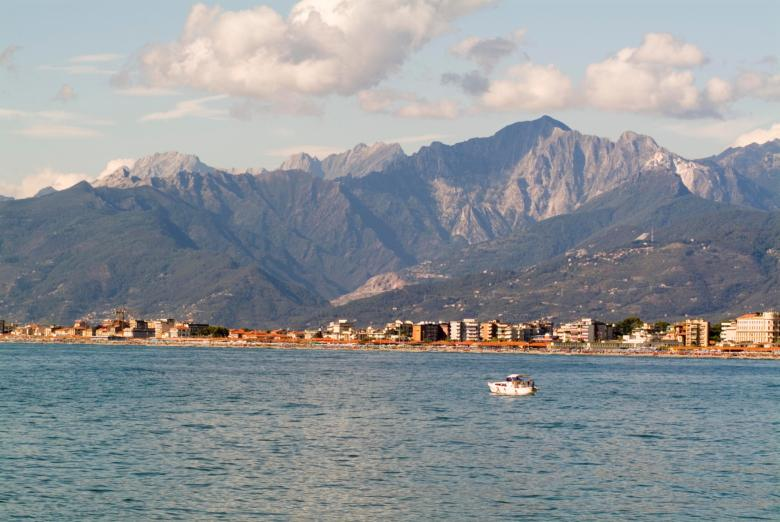 The magnificent view of the Apuan Alps from Viareggio